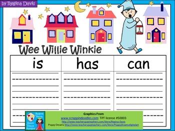 A+  Wee Willie Winkie... Three Graphic Organizers