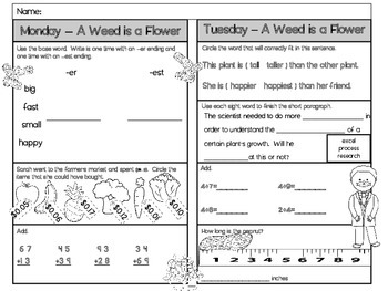 A Weed is a Flower Homework - Scott Foresman 2nd Grade
