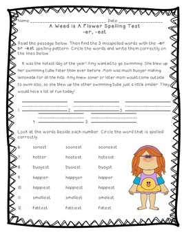 Reading Street: Unit 3 - A Weed is a Flower Spelling Word Blocks and Test