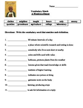 A Weed is a Flower Vocabulary Match and Selection Test Reading Street