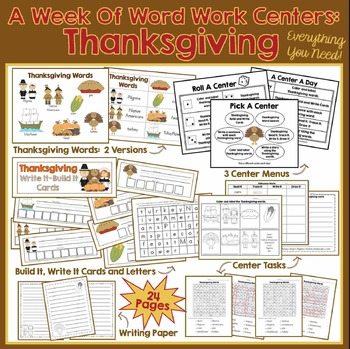 A Week Of Word Work Centers:  Thanksgiving
