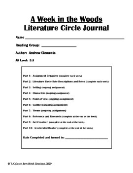 A Week in the Woods Literature Circle Journal Student Packet