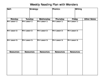 A Weekly Reading Plan with Wonders