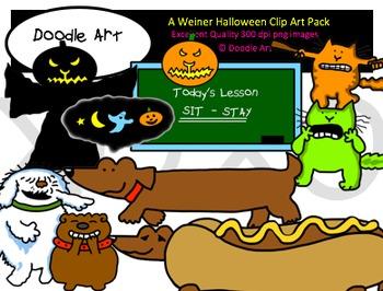 A Weiner Dog Halloween Clipart Pack