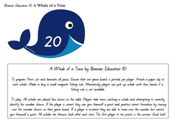 A Whale of a Time Number Recognition Game 0 - 20