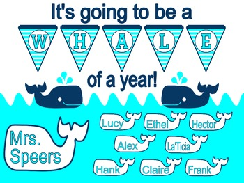 A Whale of a Year! Back to School Bulletin Board (Aqua)