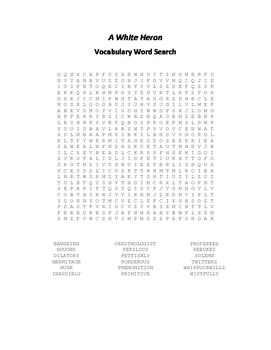 A White Heron Vocabulary Word Search - Jewett