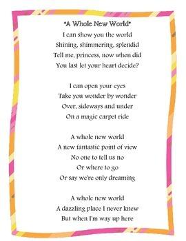 """A Whole New World"" Music Lyrics Close Reading Comprehenesion"