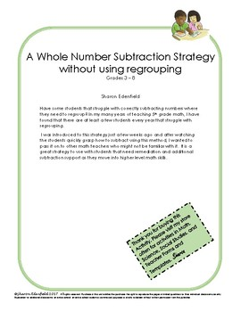 A Whole Number Subtraction Strategy without using regrouping
