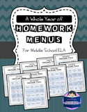 A Whole Year of Homework Menus for Middle School ELA