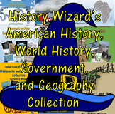 American History, World History, Government, and Geography