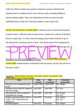 Picture Book Reading Strategies Grant EDITABLE