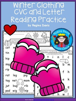 A+ Winter Clothing: CVC Words And Letter Reading Practice