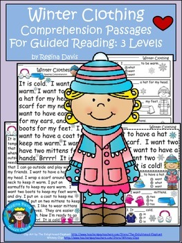 A+ Winter Clothing Comprehension: Differentiated Instruction For Guided Reading