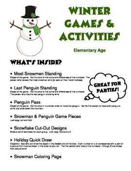 A+ Winter Games & Activities - Super for Elementary Parties!