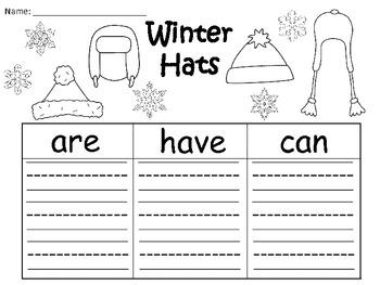 A+ Winter Hats: Three Graphic Organizers