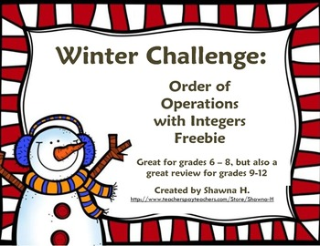 A Winter Math Challenge: Integers and Order of Operations *FREEBIE*