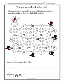 A Winter Skip Counting Activity: 2's through 9's
