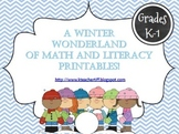 A Winter Wonderland of Math and Literacy Printables