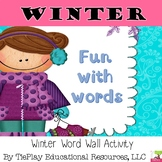 A Winter Word Wall Phonics short and long vowels r controlled and irregular