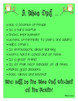 A Wise Owl Student of the Month Expectations Poster