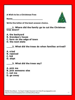 A Wish to be a Christmas Tree Reading Comprehension