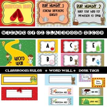 A Wizard of Oz Classroom decorating set