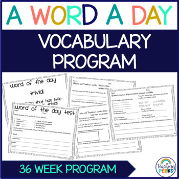 A Word A Day Vocabulary {A Year Long Vocabulary Program}