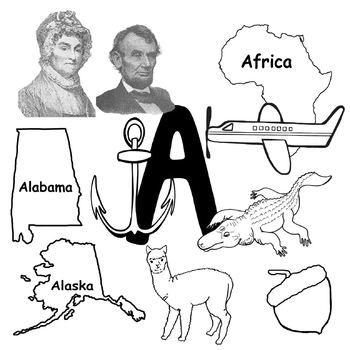 A Clip Art Words with Initial A Sounds in Realistic Color and BW 300 dpi