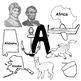 Letter A Words Clip Art in Realistic Color and BW 300 dpi