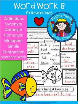 A+ Word Work 8: Synonym, Antonym, Homonym, Metaphor, and Simile Sort