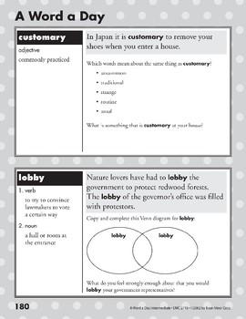 A Word a Day: Customary, Lobby, Charade, Jovial