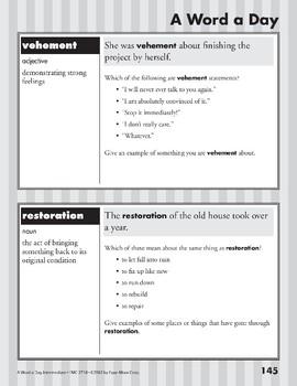A Word a Day: Esteem, Cavort, Vehement, Restoration