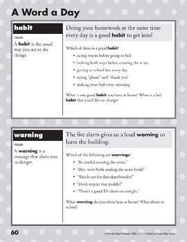 A Word a Day: Habit, Warning, Exchange, Contagious