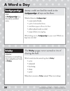 A Word a Day: Hodgepodge, Frisky, Affection, Scarce