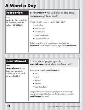 A Word a Day: Recreation, Nourishment, Persuade, Include