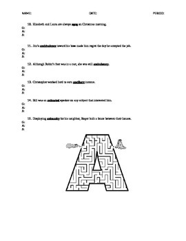 A Words GAS Vocabulary: ACT Word Practice