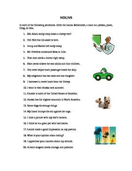 A Worksheet on Part of Speech - Nouns