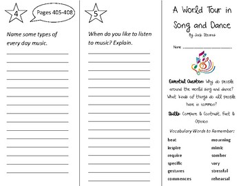 A World Tour in Song & Dance Trifold - Open Court 3rd Grade Unit 6 Lesson 5