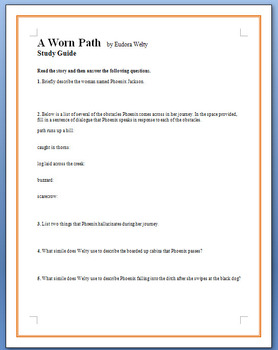 A Worn Path by Eudora Welty  -  12 study guide questions
