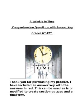 A Wrinkle In Time Comprehension Questions with Answer Key