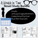 A Wrinkle In Time Novel Study Bundle: engaging worksheets,assessment, and game