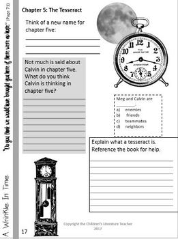 A Wrinkle In Time Visually Engaging Chapter Worksheets