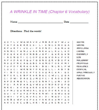 A Wrinkle in Time (6 word searches- ch.1-6)