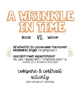 A Wrinkle in Time Book and Movie Compare/Contrast Activity