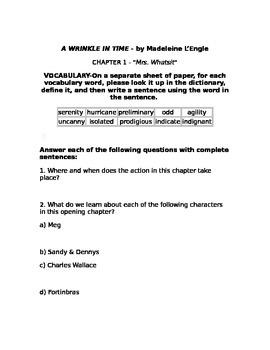 A Wrinkle in Time Chapter 1 Questions
