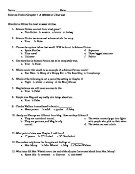 A Wrinkle in Time Chapter 1 test