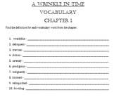 A Wrinkle in Time Chapter Vocabulary