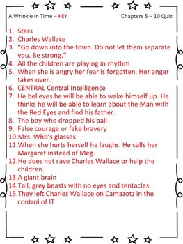 A Wrinkle in Time - Chapters5 - 10 Quiz