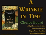 A Wrinkle in Time Choice Board Novel Study Activities Menu Book Project